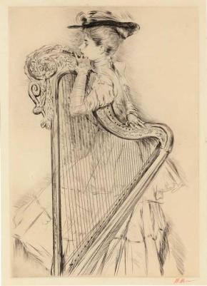 paul-cesar-helleu-woman-with-harp