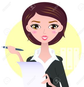 18688409-office-writing-woman-with-paper-note-illustration-stock-vector-drawing-woman-executive