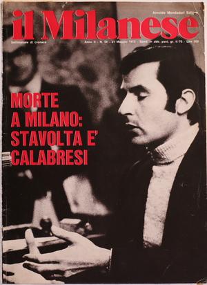 Luigi Calabresi durante il processo 'Calabresi-Lotta Continua'. Foto di Carla Cerati, prima pagina de il Milanese (21 maggio, 1972).