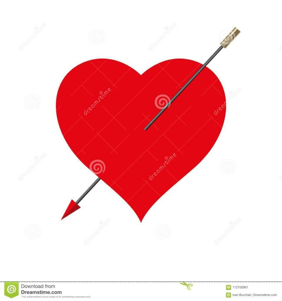 corazón-perforado-rojo-grande-del-vector-flecha-cupido-hecha-rayo-de-la-bicicleta-112700961